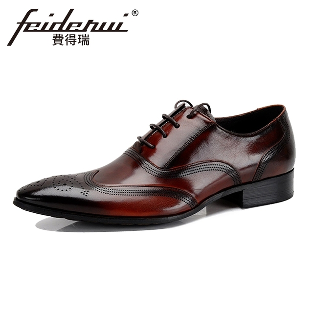 Vintage Genuine Leather Mens Handmade Breathable Oxfords Pointed Toe  Wingtip Carved Man Formal Dress Wedding Brogue Shoes YMX103 88fe57adb14e