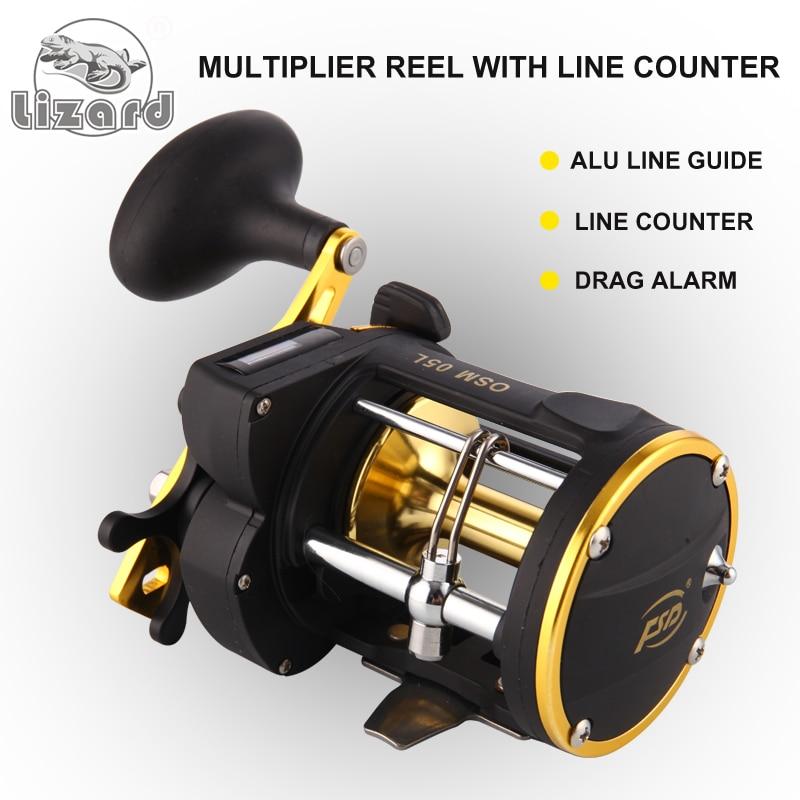 Lizard Fishing Power Line Counter Trolling Fishing Reels OSM05L Multiplier Reels Free Shipping