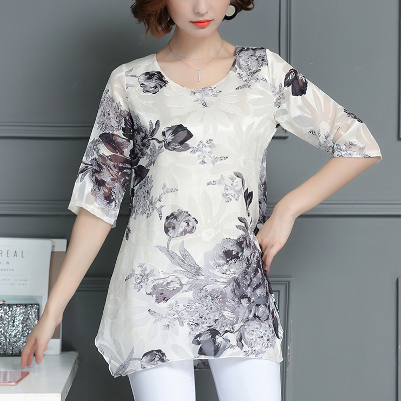 plus size embroidery chiffon   blouse     shirt   summer casual loose women tops short sleeve feminina blusas feminina ver o 2018 137H