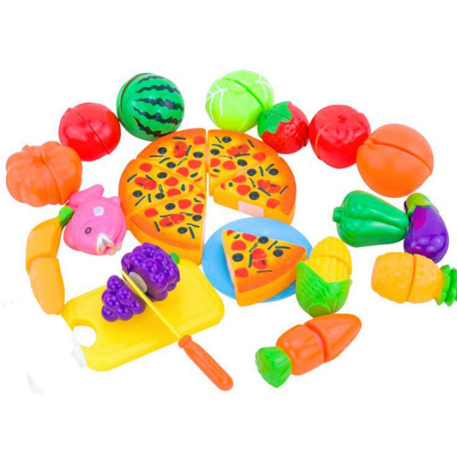 2016 New 24PCS  Pretend Food Miniature Play Classic Kitchen Toys Plastic Cutting Fruits and Vegetables Set with Pizza Play Food
