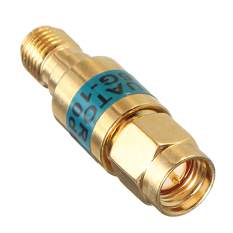 1pc New Golden Attenuator 2W SMA-JK Male to Female RF Coaxial Attenuator 6GHz 50ohm 10dB rp sma female to y type 2x ip 9 ms156 male splitter combiner cable pigtail rg316 one sma point 2 ms156 connector for lte yota