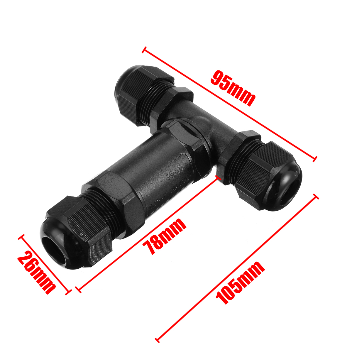 T Shape Cable Sleeve IP68 Waterproof Cable Connector 3 Way Splitter Electrical Outdoor Power LED Lighting