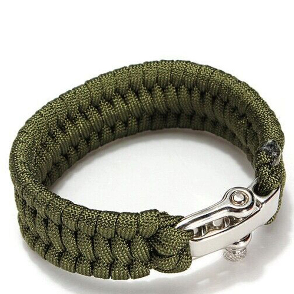 550 Paracord Bracelet Camping Hiking Survival Rope Steel Shackle Buckle Paracord Survival Bracelet Paracord Wristband #2W