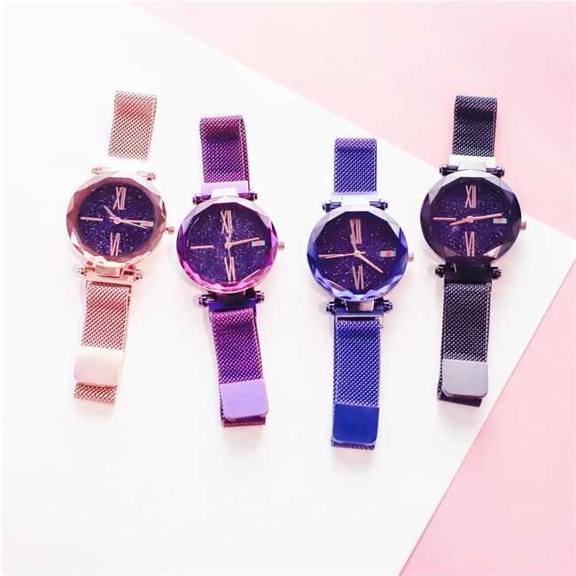 Luxury Rose Gold Women Watches Minimalism Starry sky Magnet Buckle Fashion Casual Female Wristwatch Waterproof Roman Numeral 3