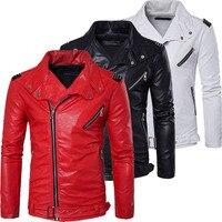 Top Quality Soft PU Multi Zipper White Red Leather Jacket Men Motorcycle Slim Fit Male Biker Jacket Black