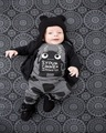2017 New children's clothes boy clothing sets long-sleeved little monsters T-shirt + pants 2 pcs newborns baby clothes set ST196