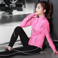 New long sleeved three pieces set yoga clothes women running fitness dry sports