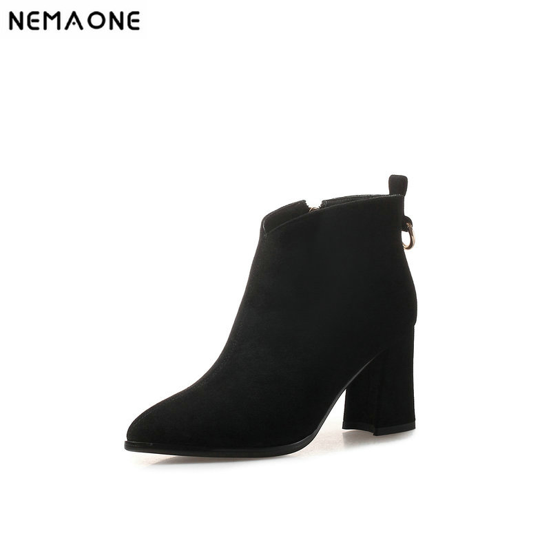 NEMAONE New thick high heels ankle Boots women dress shoes woman autumn Winter Ladies boots black brown beige large size 43