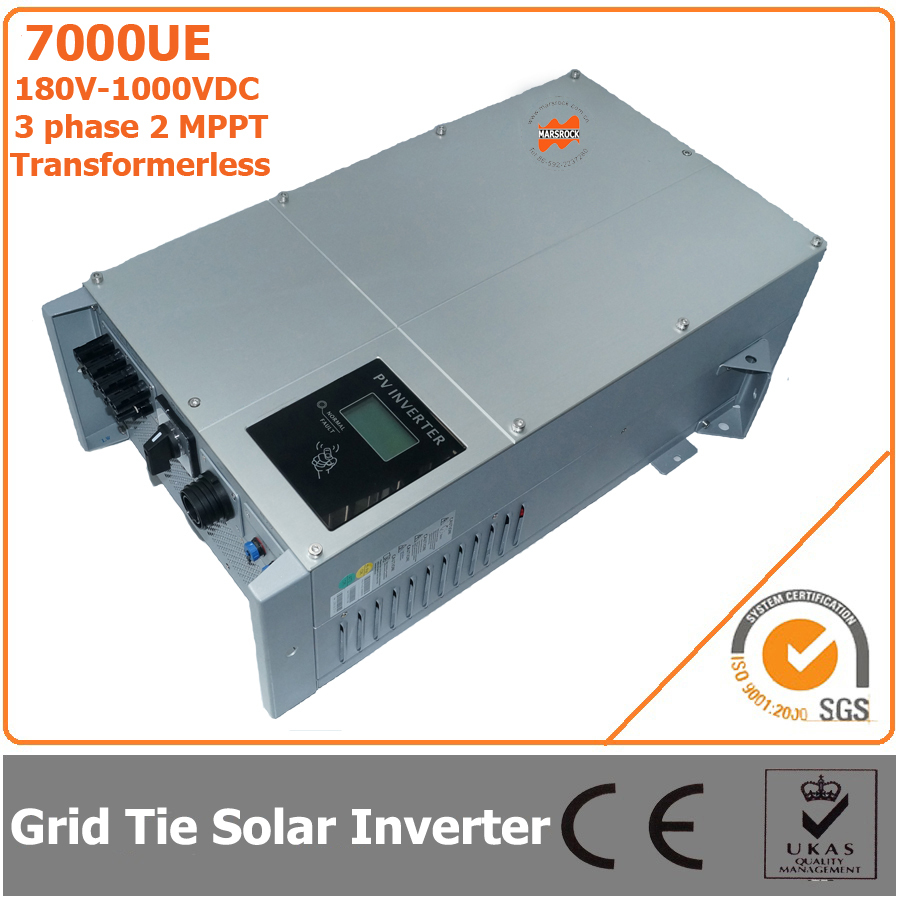 7000W 180V-1000VDC Three Phase Transformerless Solar Grid Tie Inverter with 2 MPPT 5000w single phrase on grid solar inverter with 1 mppt transformerless waterproof ip65 lcd display multi language