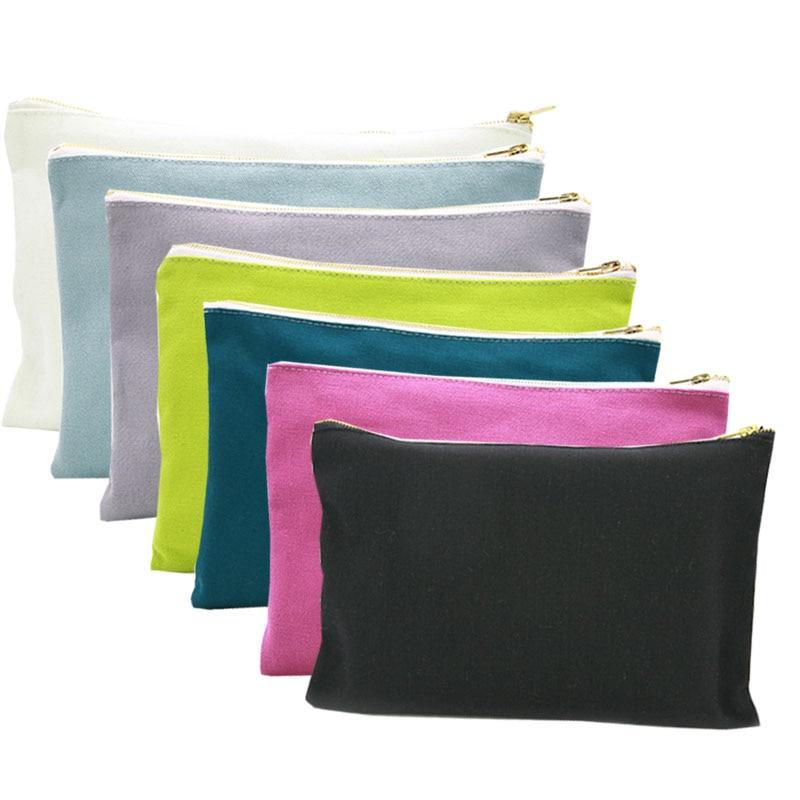 OIVEFEET, 16oz Plain Cotton Canvas Cosmetic Bag Travel Toiletry Makeup Gold Zipper Pouch Bag, 8 Colors