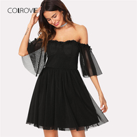 COLROVIE Lace Detail Mesh Overlay Bardot Women Dress 2018 New Black Off The Shoulder Half Sleeve