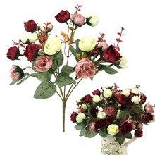 21 cabezas elegante hermosa rosa Artificial europeo de seda sintética flores ramo Home Dec fiesta boda etiqueta