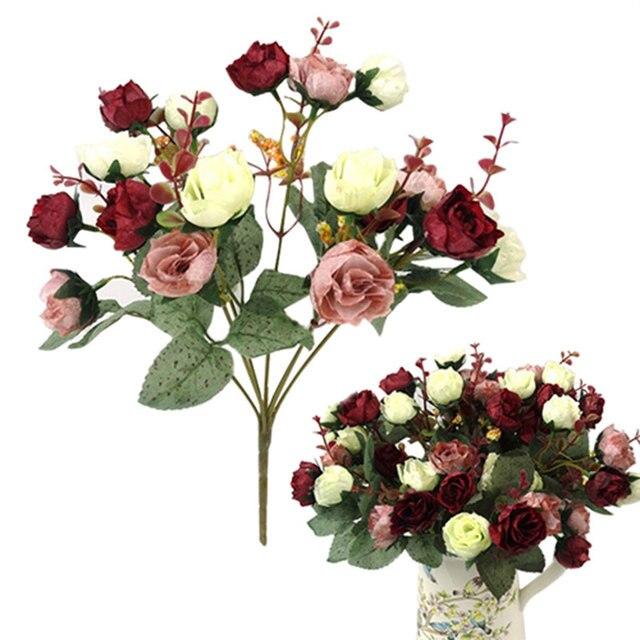 باقة أزهار حرير محاكاة ورود اصطناعية أوروبية جميلة من 21 رأسًا مناسبة لحفلات الزفاف