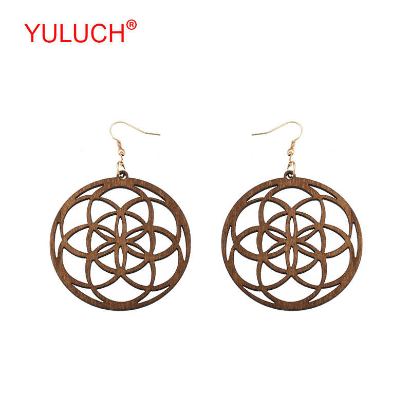 YULUCH African Women Jewelry Accessories Ethnic Natural Wooden Round hollow out Lucky Halo Pendant Pop Earrings Party Gifts