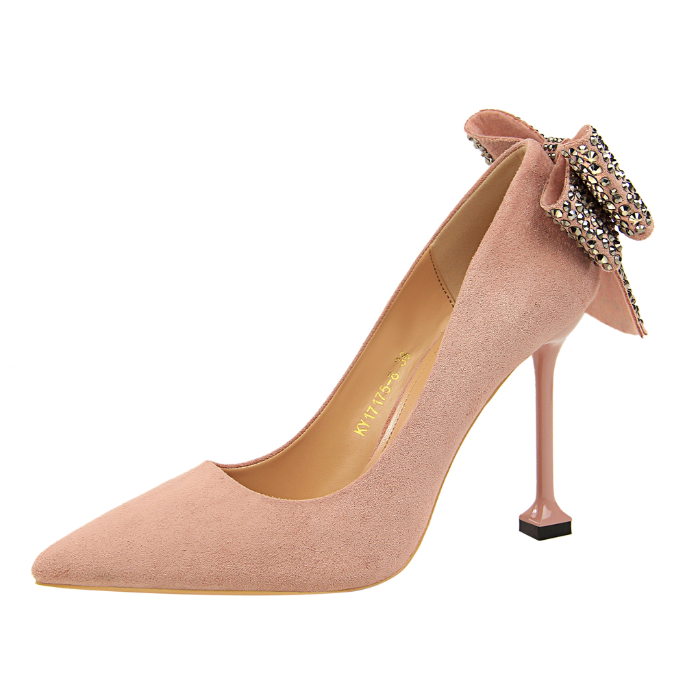 Luxury Brand Fashion Sexy Women Rhinestone Wedding Shoes Pumps 9.5cm High  Heels Bow Shoes Red Pink Khaki For OL Lady 84eec0936268