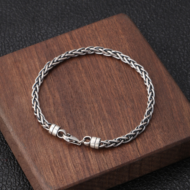 Pure S925 Sterling Silver Personality Retro Large twist Man/'s Bracelet