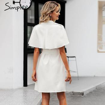 Simplee Solid ruffled sleeve women blazer dress Elegant sash belt office ladies trench dress V-neck shawl party dress vestidos 2