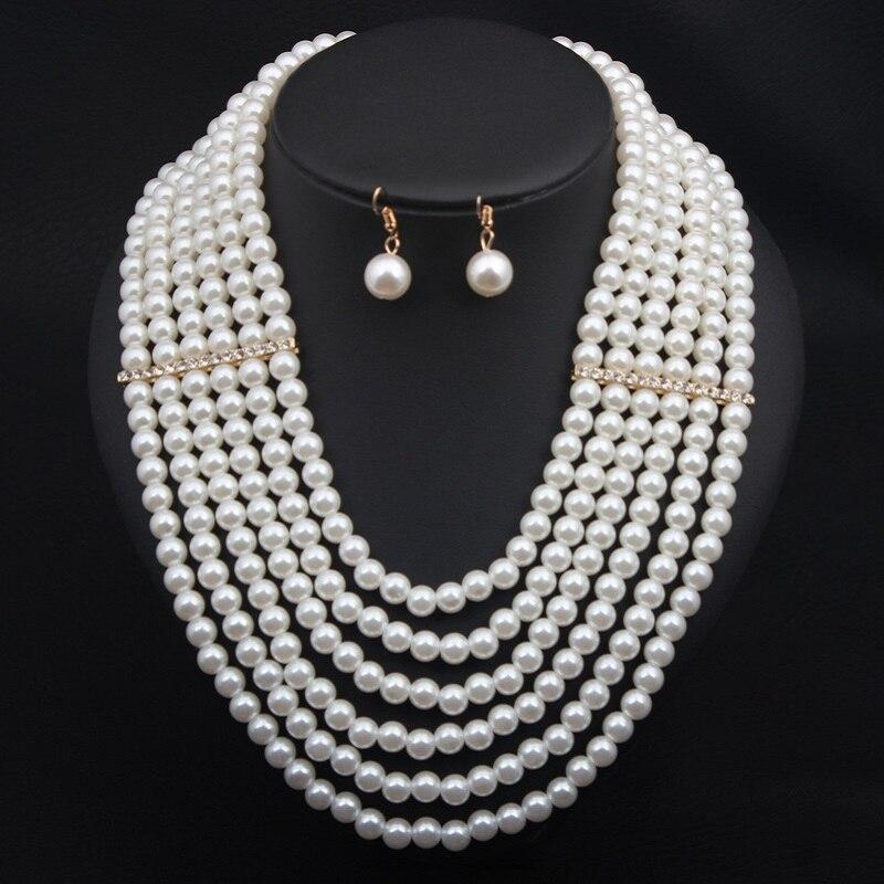 Горячая продажа многослойный синтетический жемчуг ожерелье набор продажа ювелирных изделий для женщин вечеринки Свадебные ювелирные изде