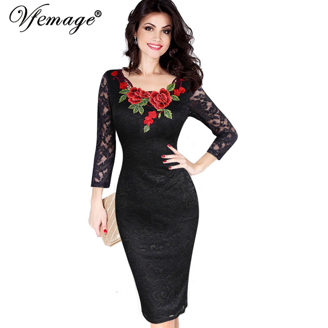 Vfemage Womens Autumn Elegant Embroidery See Through Lace Party Evening Special Occasion Sheath Vestidos Bodycon Dress 4240