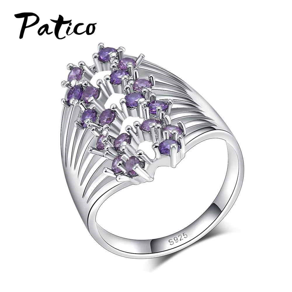 PATICO 925 Sterling Silver Finger Ring For Lady Purple CZ Zircon Luxury Hot Princess Women Wedding Engagement Ring Dropship Anel