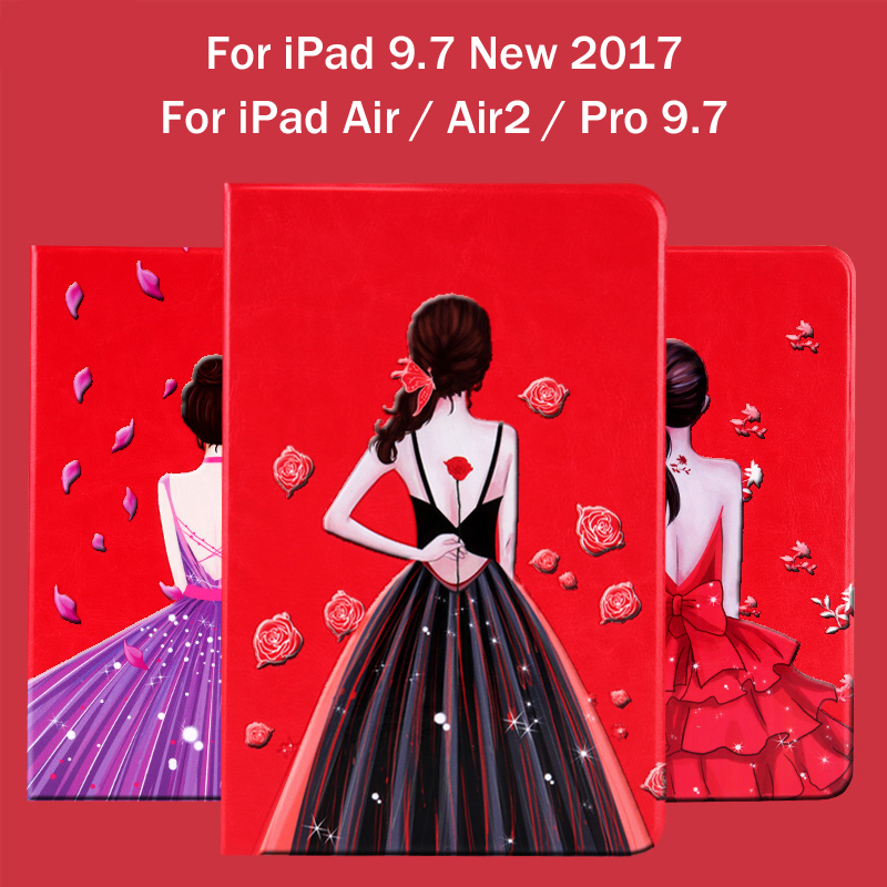 New 2017 For iPad 9.7 / Air / Air 2 / Pro 9.7 Girl series painted Pu leather stand holder Cover Case For iPad 5 / 6 + Gift flip left and right stand pu leather case cover for blu vivo air