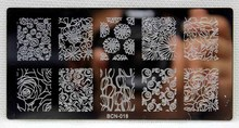 цена на Fashion Rectangle Rose Flowers & Lace Design,Nail Print Stamp Plate, Beauty Manicure Stencil DIY Polish Tool, 1 PCS Nail Plates