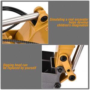 Image 5 - 1580 2.4G 23CH RC חופר צעצוע 1/14 בקנה מידה מתכת הנדסת רכב עם LED פלאש סורק מכוניות משאית צעצוע