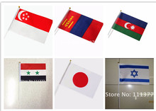 Asian National flags Azerbaijan Israel Japan Mongolia Syria Singapore Flags solid-color processing Polyester 14*21 cm