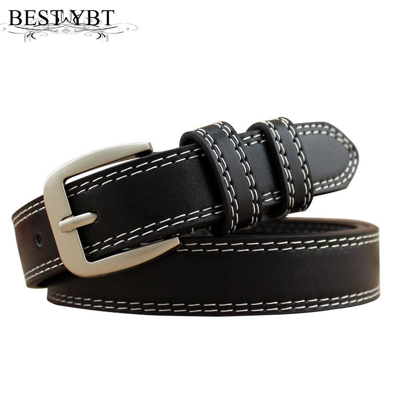 Best YBT Women Leather   Belts   retro fashion Alloy Pin buckle   belt   casual dress cowboy pants double cable women fin   belt