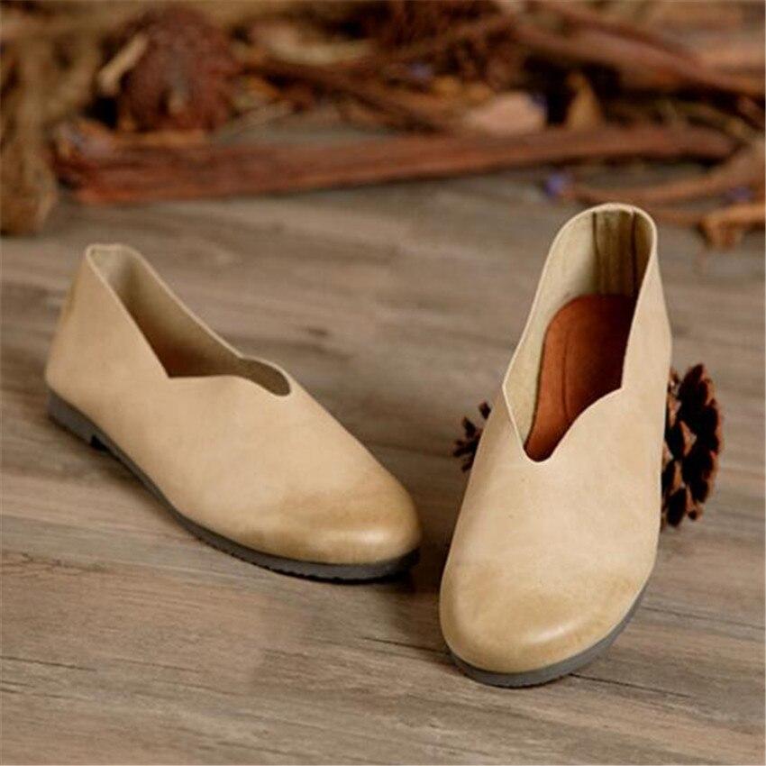 2016 Γυναικεία παπούτσια Ανοιξιάστε τα αρχικά ολοκαίνουργια παπούτσια βερίκοκων χειρός Casual Genuine Leather Shoes