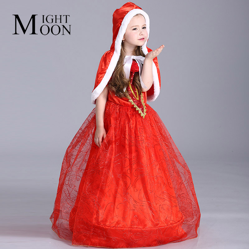 MOONIGHT Girl Little Red Riding Hood Dress Kids Christmas Red Costume Long Dress Party Princess Dress Halloween