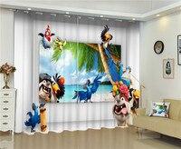 정전 창 커튼 만화 장식 3D 커튼 침구 거실 호텔 커튼 Cortinas 드 살라