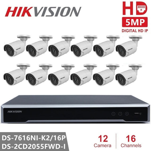 Hikvision CCTV Camera Kits 16CH 16POE NVR + Security Camera DS-2CD2055FWD-I 5MP IP Camera Ultra-Low light Bullet for Outdoor