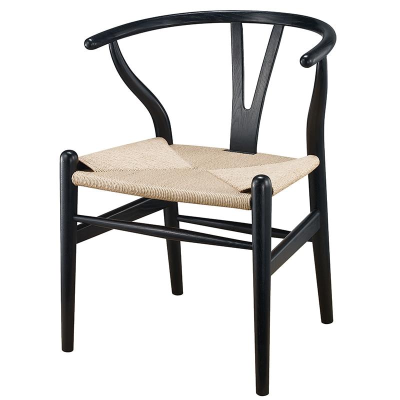 Modern Wishbone Y Chair Dining Designer Hans Wegner Wishbone Chair Solid  Ash Wood Furniture Dining Chair Armchair Natural/Black In Dining Chairs  From ...