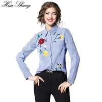 Spring Autumn Women Long Sleeve Floral Embroidery Shirt Turn Down Color Blue Striped Blouse Female Fashion