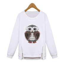 Europe Style Autumn Winter Woman Sweatshirt Pullover O-Neck Velvet Warm Loose Long-Sleeved Owl Womens Hoodies and Sweatshirts