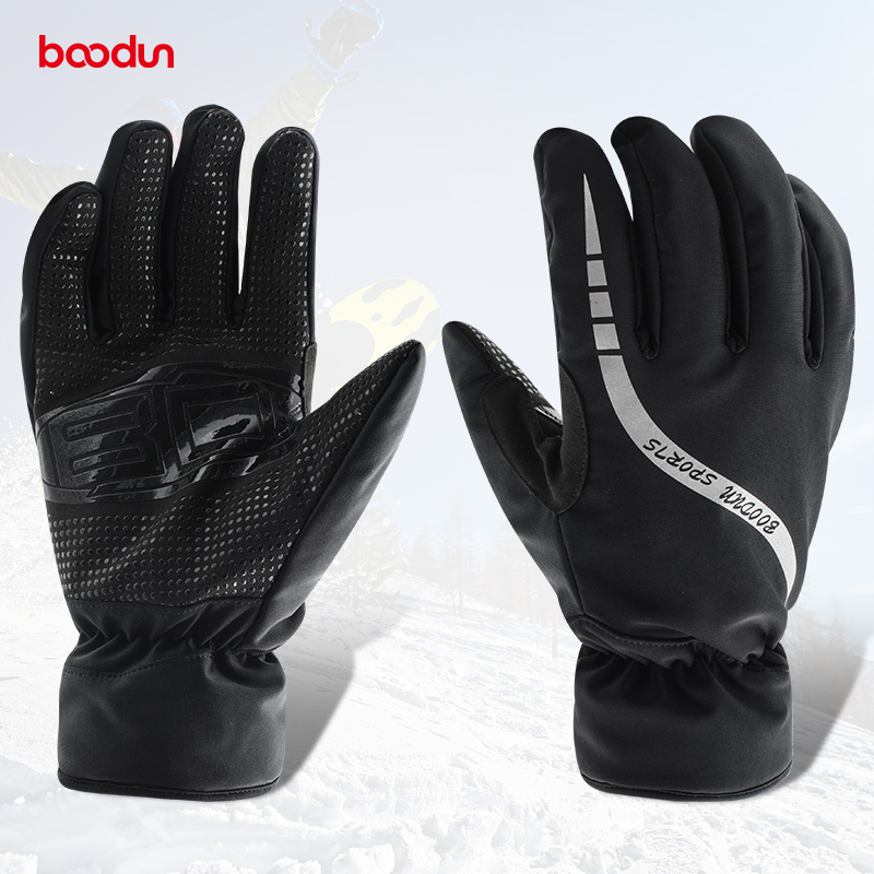 Boodun Winter Thermal Fleece Mens Skiing Gloves Windproof Waterproof Snowboard Gloves Cycling Motorcycle Gloves Keep Warm Glove