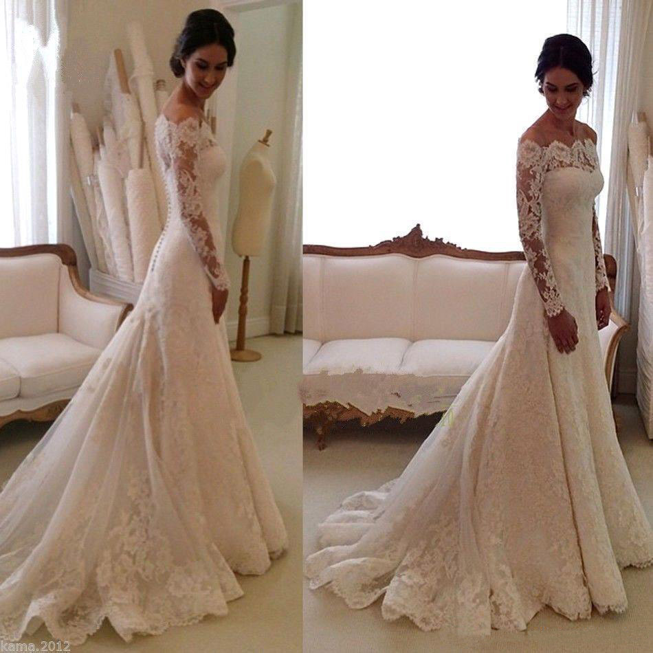 Off Shoulder Wedding Dresses Long Illusion Sleeves Sweep Train Floor Length Bridal Dress with Back Buttons