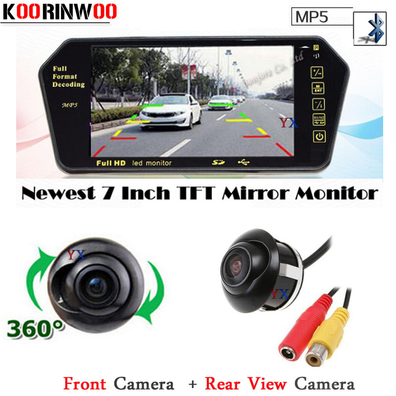 "3 in 1 TFT LCD 7"" Monitor Video Screen 1024*600 MP5/MP4 FM Bluetooth SD/USB Slot HD CCD Rear view camera Front camera Parking"