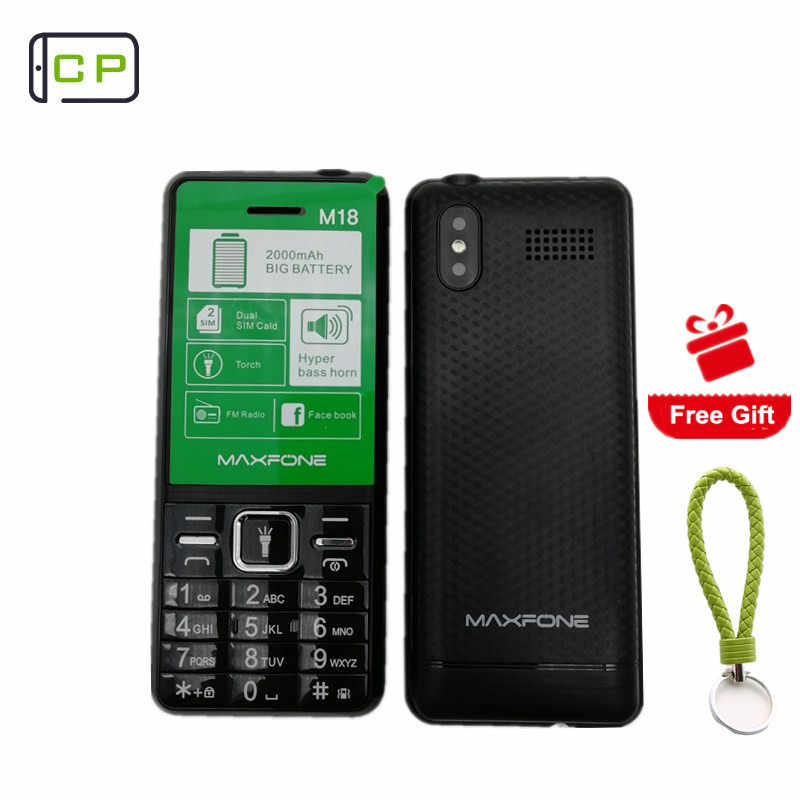 Maxfone M18 Push-button Telephone Dual Sim Bluethooth Big Torch Speaker Camera 2000mAh Facebook Elderly Portable Cell Phones