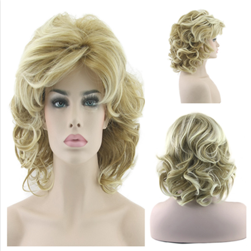 Fashion European and American Women Natural Wavy Full Lace Wigs Medium Blonde font b Synthetic b