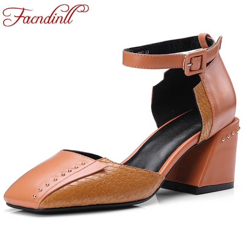 FACNDINLL women shoes genuine leather summer sandals shoes square heels new fashion woman sandals date dress party shoes sandals facndinll new women summer sandals 2018 ladies summer wedges high heel fashion casual leather sandals platform date party shoes