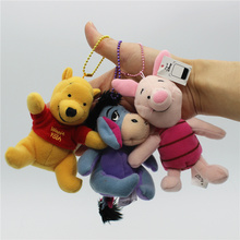 4pcs lot 10cm mini bear plush pendant cute bear Piglet pig tigger Eeyore donkey figures dolls