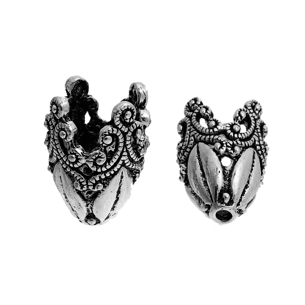 DoreenBeads Zinc Based Alloy Beads Caps Flower Antique Silver (Fit Beads Size: 14mm Dia.) 29mm(1 1/8