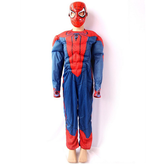 kids spiderman muscle costumes child led masks cosplay halloween costume for kids infantiles superheroes fancy costumes