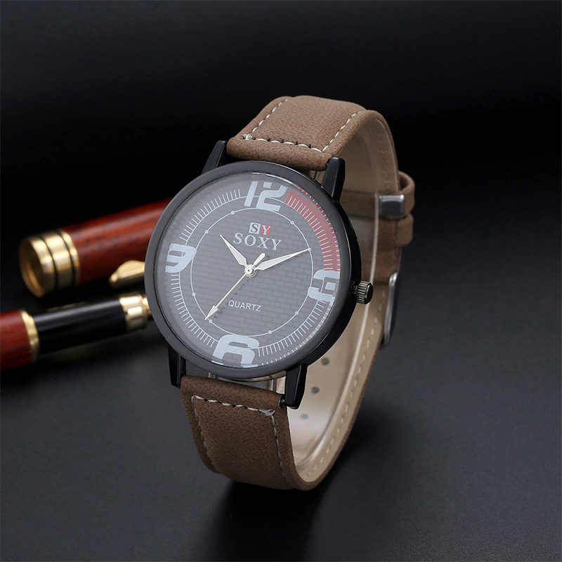6342cbd5d90 Relógio de Couro De luxo Homens Moda Casual Sports Quartz Relógios SOXY  Marca Negócio Relógio de Pulso Hora relojes Hombre