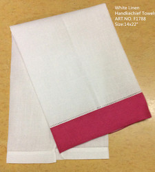Fashion Unisex Handkerchiefs 12PCS/Lot 14x22White Linen Handkechief Towels & Hot pink Color edges Holiday Hakies For Occasions