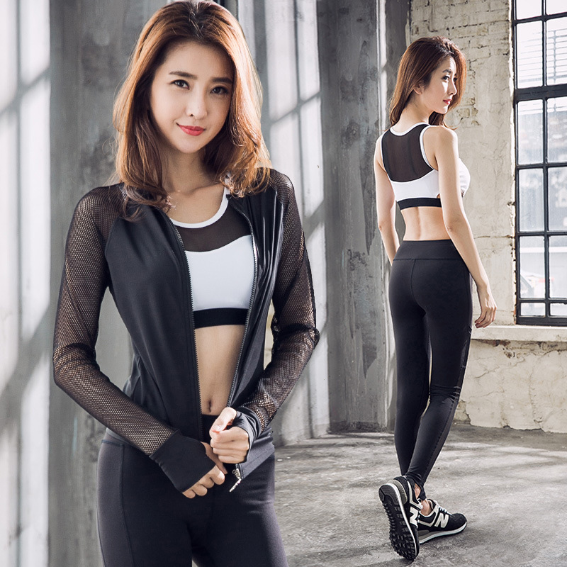 New Yoga Clothes 2019 Fast Dry Clothes Professional Gymnasium Outdoor Running Bra Three piece Suit Delivery
