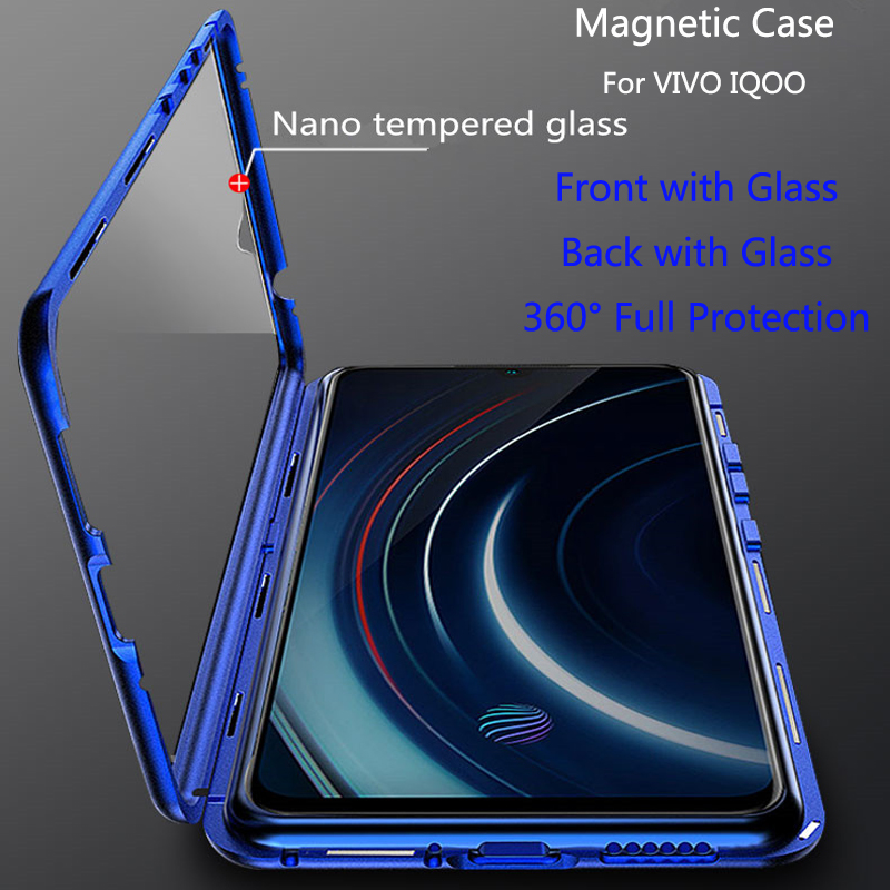 For VIVO IQOO Magnetic Case Front+Back double-sided 9H Tempered Glass for vivo iqoo viviiqoo Metal Bumper 6.41 inch