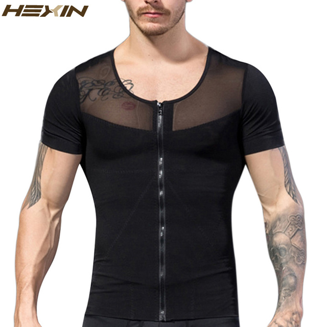 HEXIN Men's Front Zipper Slimming Body Shapers Male T-shirts Waist Corsets Underwear Lose Weight Abdomen Fat Reduce Shapewear